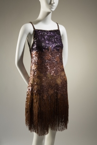 Yves Saint Laurent, evening set, silk organza, sequins, beads, fall 1969, France. Gift of Lauren Bacall.
