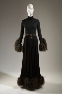 Christian Dior by Marc Bohan, evening dress, silk jersey, ostrich feathers, spring 1968, France. Gift of Lauren Bacall.